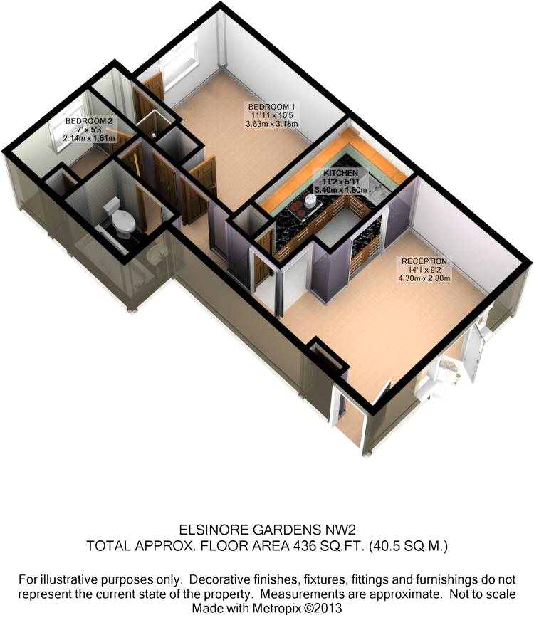 Floorplan of Elsinore Gardens, Cricklewood, London, NW2 1SS